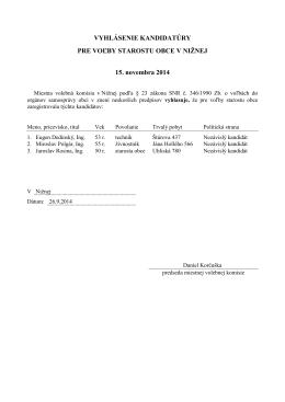 Vyhlásenia kandidatúr na starostu a poslancov obce