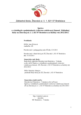 Základná škola, Žitavská ul. č. 1, 821 07 Bratislava