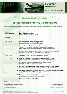Agrosektor Pozvanka Odborný seminár 08032012