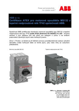 Certifikace ATEX pro TF42