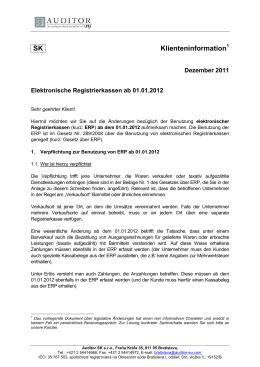 Elektronische Registrierkassen ab 01.01.2012
