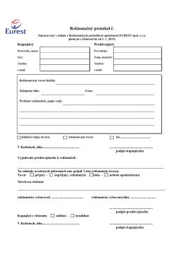 Reklamačný protokol na stiahnutie tu - eurest
