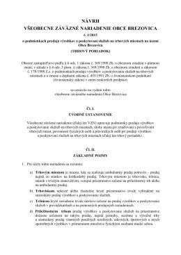 Návrh VZN č. 1/2015 o podmienkach predaja výrobkov a