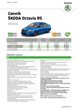 Cenník ŠKODA Octavia RS