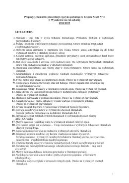 1 Propozycje tematów prezentacji z języka
