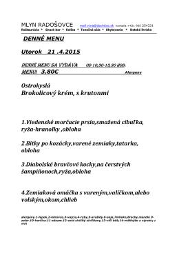 denné menu - Mlyn Radošovce
