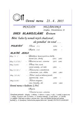 Denné menu Denné menu 20 . 4 . 2015