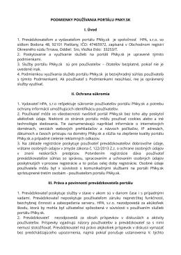 Podmienkami používania portálu PNky.sk