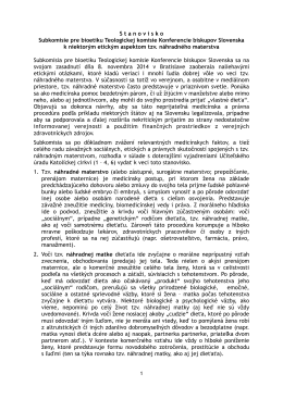 S t a n o v i s k o  Subkomisie pre bioetiku Teologickej komisie
