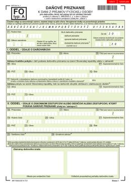 Daňové priznanie k dani z príjmov FO typ A