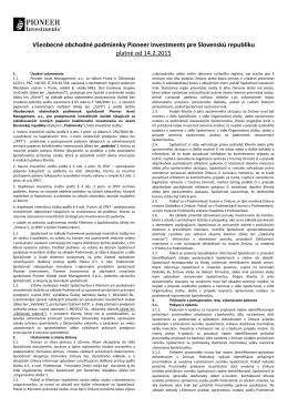 Všeobecné obchodné podmienky Pioneer Investments (PAM)