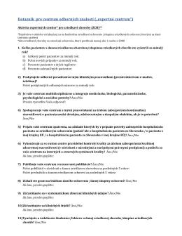 Dotazník a kritériá pre expertné centrá