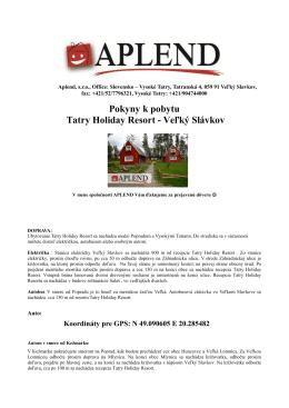 Pokyny k pobytu Tatry Holiday Resort - Veľký Slávkov