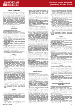 Všeobecné poistné podmienky pre úrazové poistenie Školák