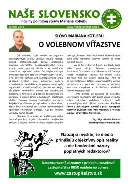 Januárové číslo časopisu - Ľudová strana Naše Slovensko