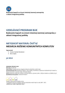 Metodika BLOK B / Mediácia riešenie komunitných konflitov