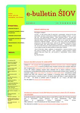 e-bulletin ŠIOV - Štátny inštitút odborného vzdelávania