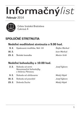 Informačnýlist Február 2014 - Cirkev bratská v Bratislave