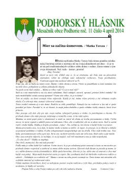 hlasnik-4-2014 - Obec Podhorie
