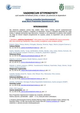 Vademecum Stypendysty - Biuro Programów Zagranicznych UEK