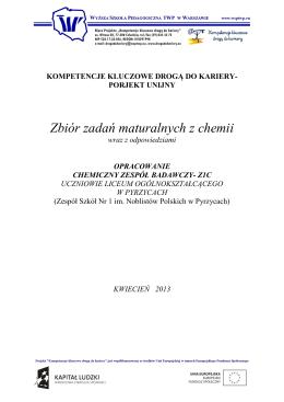 Zbiór zadań maturalnych z chemii - Kompetencje kluczowe drogą do