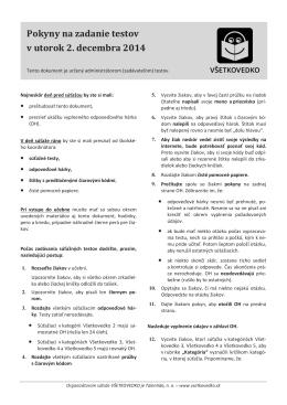 Pokyny na zadanie testov v utorok 2. decembra 2014