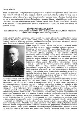 SLOVO O RODE OZÁBALOVCOV (formát PDF)
