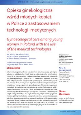 Opieka ginekologiczna wśród młodych kobiet w Polsce z