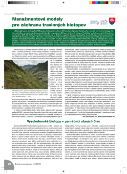 Manažmentové modely pre záchranu travinných biotopov