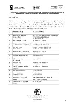 Lista osób zakwalifikowanych - Coaching. - MCPS-EFS
