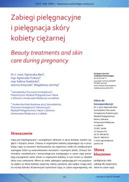 Zabiegi pielęgnacyjne i pielęgnacja skóry kobiety ciężarnej / Beauty