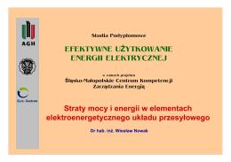 Straty mocy i energii w elementach elektroenergetycznego