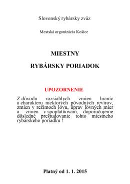 Poriadok TU - MsO SRZ Košice