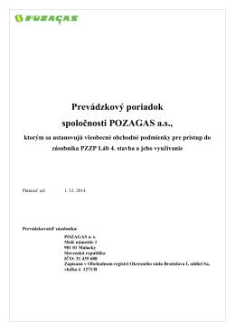 Prevádzkový poriadok spoločnosti POZAGAS a.s.,