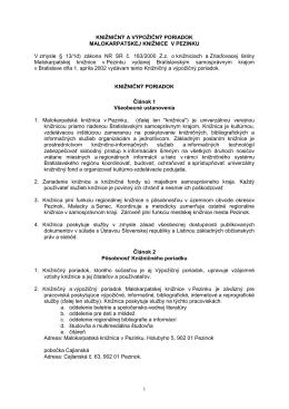 Knižničný poriadok - Malokarpatská knižnica v Pezinku