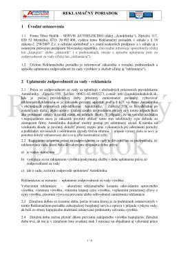 Reklamačný poriadok Autoklinika Holčík