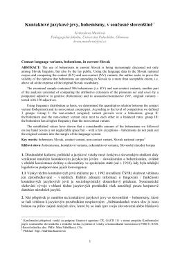 Kontaktové jazykové jevy, bohemismy, v současné slovenštině 1