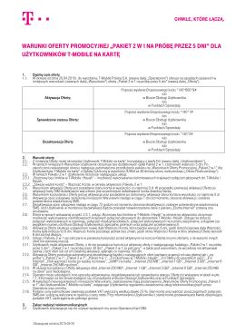"""Warunki Oferty PrOmOcyjnej """"Pakiet 2 w 1 na Próbę - T"""