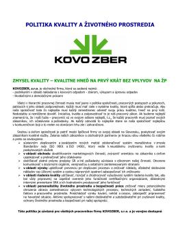 Politika kvality a životného prostredia dokument PDF