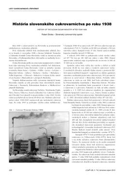 História slovenského cukrovarníctva po roku 1938
