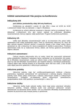 Inštitút zamestnanosti Vás pozýva na konferenciu Inkluzívny trh