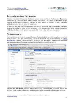 Integracja serwisu z Facebookiem No to zaczynamy
