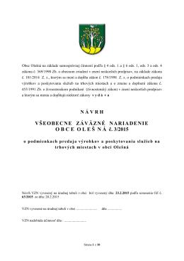 VZN OBCE OLEŠNÁ č. 3/2015 o podmienkach predaja výrobkov a