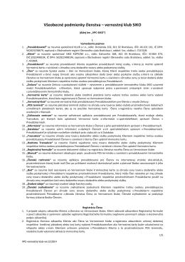 Všeobecné podmienky členstva