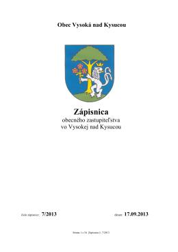 Zápisnica OZ č. 7/2013