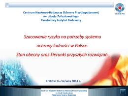 Szacowanie ryzyka na potrzeby systemu ochrony ludności w Polsce