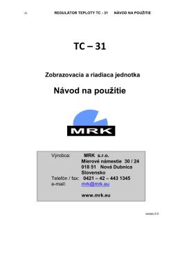 TC-31 Návod na použitie