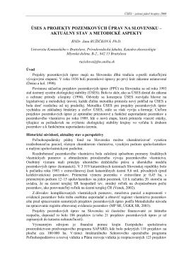 ÚSES A PROJEKTY POZEMKOVÝCH ÚPRAV NA SLOVENSKU