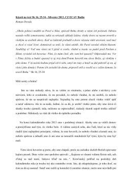 Kázeň na text Sk 16, 25-34 - Silvester 2013, CZ ECAV