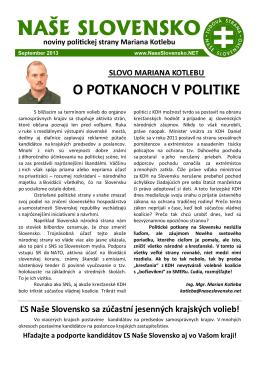 Septembrové číslo časopisu - Ľudová strana Naše Slovensko